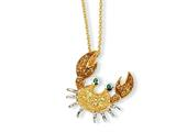 Cheryl M™ Gold Plated Sterling Silver CZ and Sim. Emerald Crab 18in Necklace