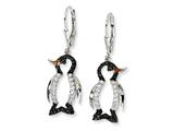 Cheryl M™ Sterling Silver Enameled Blk and Wht CZ Penguin Leverback Earrings