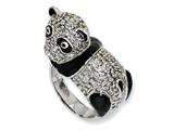 Cheryl M™ Sterling Silver Enameled CZ Panda Ring style: QCM598