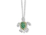 Cheryl M™ Sterling Silver Sim. Peridot/Sim. Emerald/CZ Turtle 18in Necklace