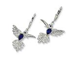 Cheryl M™ Sterling Silver Synthetic Sapphire Hummingbird Leverback Earrings