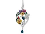Cheryl M™ Sterling Silver Enameled CZ and Sim. Gemstones Hummingbird 18in Necklace