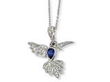 Cheryl M™ Sterling Silver CZ and Synthetic Sapphire Hummingbird 18in Necklace