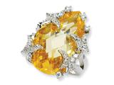 Cheryl M™ Sterling Silver Canary CZ Butterfly Ring