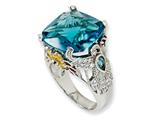 Cheryl M Sterling Silver Enameled Simulated Blue Topaz/CZ Hummingbird Ring
