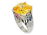 Cheryl M™ Sterling Silver Enameled Canary CZ Hummingbird Ring style: QCM611