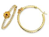 Cheryl M™ Gold Plated Sterling Silver Sim.Ruby and Yell/Wht CZ Hoop Earrings