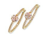 Cheryl M™ Gold Plated Sterling Silver Pink CZ Floral Hoop Earrings