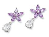 Cheryl M™ Sterling Silver Lavender/White CZ Floral Dangle Post Earrings