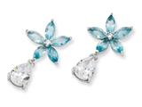 Cheryl M Sterling Silver Simulated Aquamarine/CZ Floral Dangle Post Earrings