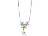 Cheryl M Sterling Silver Simulated Aquamarine/Multi CZ Floral 18in Necklace