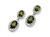 Cheryl M™ Sterling Silver Oval Olive CZ Dangle Post Earrings