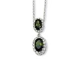 Cheryl M Sterling Silver Oval Olive CZ 18in Necklace