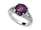 Cheryl M™ Sterling Silver Checker-cut Purple and White CZ Ring style: QCM624