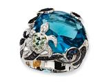 Cheryl M™ Sterling Silver CZ and Simulated Blue Topaz Turtle Ring