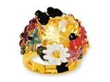 Cheryl M™ Gold Plated Sterling Silver Enameled Canary CZ Flower Ring