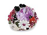 Cheryl M™ Sterling Silver Enameled Lavender CZ Flower Ring style: QCM629