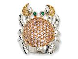 Cheryl M Sterling Silver CZ and Sim. Emerald Crab Ring