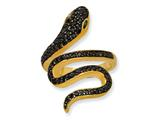 Cheryl M™ Gold Plated Sterling Silver Satin Blk CZ/Sim. Emerald Snake Ring