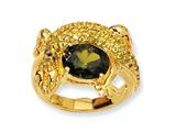 Cheryl M™ Gold Plated Sterling Silver Green CZ Lizard Ring
