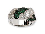Cheryl M™ Sterling Silver CZ and Sim. Emerald Twin Snakes Ring