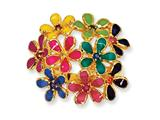 Cheryl M™ Gold Plated Sterling Silver Enameled CZ Flowers Ring