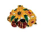 Cheryl M™ Gold Plated Sterling Silver Enameled Olive CZ Floral/Ladybug Ring