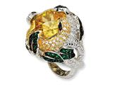 Cheryl M™ Sterling Silver Canary CZ and Glass Snake Ring