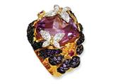 Cheryl M Gold Plated Sterling Silver Synthetic Ruby and Multi CZ Butterfly Ring