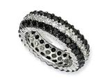 Cheryl M Sterling Silver Black/White CZ Eternity Ring