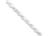 16 Inch Sterling Silver 2.25mm bright-cut Rope Chain style: QDC050
