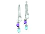 Sterling Silver Amethyst And Blue and White Topaz Dangle Earrings style: QE10984X