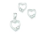 Sterling Silver Heart With Cubic Zirconia Earringsand Pendant Set - Chain Included style: QE10SET
