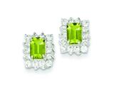 Sterling Silver Peridot and Cubic Zirconia Earrings style: QE1227