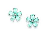 Sterling Silver Flower Blue Topaz Earrings style: QE1248