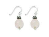 Sterling Silver Rose Quartz With Antiqued Bead Dangle Earrings style: QE1293
