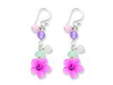 Sterling Silver Amethyst/agate/blue Topaz Flower Earrings style: QE1306