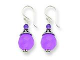 Sterling Silver Amethyst/lavender Agate Antiqued Dangle Earrings style: QE1320