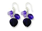 Sterling Silver Amethyst Heart Dangle Earrings style: QE1324