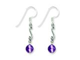 Sterling Silver Amethyst Antiqued Dangle Earrings style: QE1333