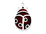 Sterling Silver Red Resin Ladybug Pendant - Chain Included style: QE1555