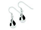 Sterling Silver Fancy Black Resin Earrings style: QE1578