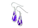 Sterling Silver Purple Resin Raindrop Earrings style: QE1583