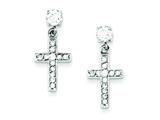 Sterling Silver Cubic Zirconia Cross Earrings style: QE1631