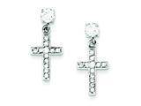 Sterling Silver Cubic Zirconia Cross Earrings style: QE1631