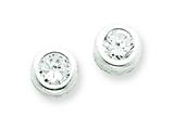 Sterling Silver Bezel Cubic Zirconia Post Earrings style: QE1674