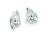 Sterling Silver Cubic Zirconia Post Earrings style: QE1709