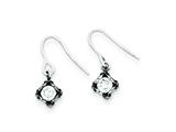 Sterling Silver Antiqued Cubic Zirconia Earrings style: QE1755