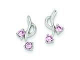 Sterling Silver Pink Cubic Zirconia Post Earrings style: QE1769
