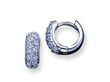 Sterling Silver Cubic Zirconia Hoop Earrings style: QE1807